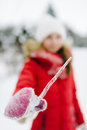 Girl with icicle Royalty Free Stock Photo