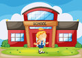 Girl infront of school Royalty Free Stock Images