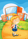 Girl infront of school illustration a building Royalty Free Stock Image