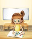A girl inside the classroom with her books and crayons illustration of Royalty Free Stock Photos