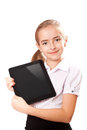 Girl ipad like gadget isolated white background Royalty Free Stock Photography