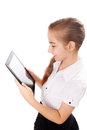 Girl ipad like gadget isolated white background Stock Photography