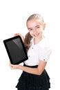 Girl ipad like gadget isolated white background Royalty Free Stock Photos