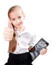 Girl ipad like gadget isolated white background Royalty Free Stock Photo