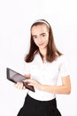Girl with ipad like gadget isolated white background Stock Photos
