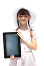 Girl with ipad like gadget isolated white background little Stock Image