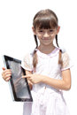 Girl with ipad like gadget isolated white background little Royalty Free Stock Image