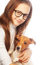 Girl with jack russell terrier happy Royalty Free Stock Image