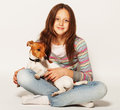 Girl with jack russell terrier happy Stock Photos