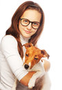 Girl with jack russell terrier happy Royalty Free Stock Images