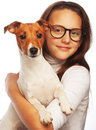 Girl with jack russell terrier happy Royalty Free Stock Photography