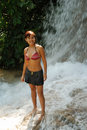 The Girl In Jamaican Falls Royalty Free Stock Images