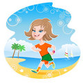 Girl Jogger on Beach Stock Image