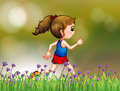 A girl jogging near the garden illustration of Royalty Free Stock Images