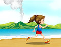 A girl jogging at the seashore illustration of Stock Photo