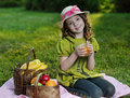 Girl with juce Stock Image
