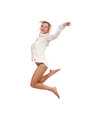 Girl jumping happines on a white background Stock Photography