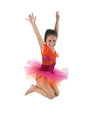 Girl jumping of joy over white Royalty Free Stock Photography