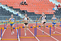 Girl jumping over barrier photo was taken during the junior team of ukrainian championship in athletics between countries ukraine Stock Photography