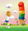 A girl in a jumping position near the giant icecream illustration of Royalty Free Stock Photo