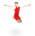 Girl jumps on a white background Stock Photo