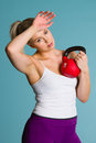 Girl and kettlebell Stock Photos