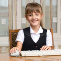 The girl and the keyboard Royalty Free Stock Images