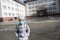 Girl kid epidemic flu medicine child medical mask Royalty Free Stock Photo