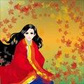 The girl in a kimono