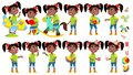 Girl Kindergarten Kid Poses Set Vector. Black. Afro American. Emotional Character Playing. Having Fun On Playground. For