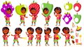 Girl Kindergarten Kid Poses Set Vector. Indian, Hindu. Asian. Party Costume Carnival. Baby Expression. Preschooler. For