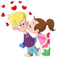 Girl kiss boy Stock Image
