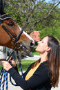 Girl kissing horse Royalty Free Stock Images