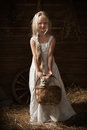 Girl with a kitten in a basket little holding the barn Royalty Free Stock Photo