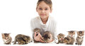 Girl and kittens a striped Royalty Free Stock Image