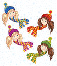 Girl in a knitted cap and scarf winter little Stock Images