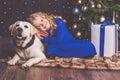 Girl and labrador dog, christmas concept Royalty Free Stock Photo