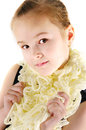 Girl in a lacy scarf the image of the on white background Stock Photos