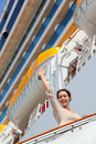 Girl on ladder goes to cruise ship Royalty Free Stock Photos