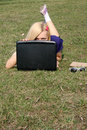 Girl with a laptop Stock Photos