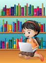 A girl with a laptop in front of the wooden shelves illustration Stock Photos