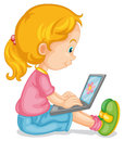 A girl and laptop illustration of on white Royalty Free Stock Photography