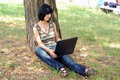 Girl with a laptop in a park Royalty Free Stock Images