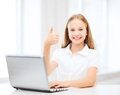 Girl with laptop pc at school education technology and internet concept little student Royalty Free Stock Photo