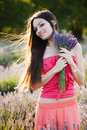 Girl on lavender field Royalty Free Stock Photography
