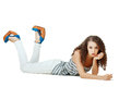 Girl laying on the floor Royalty Free Stock Photo