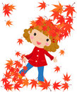 The girl and a leaf fall Royalty Free Stock Images