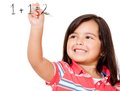 Girl learning to add Royalty Free Stock Photo