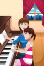 A girl learning to play a piano vector illustration of happy mother teaching her daughter Stock Photography