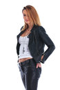 Girl In Leather Jacket Posing ...